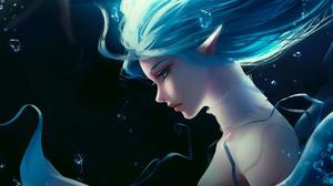 Artwork Women Blue Hair Elves Elf Ears 1920x1080 wallpaper