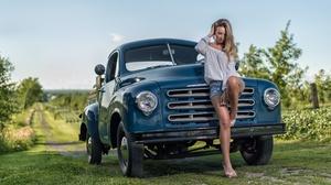 Blonde Blue Car Car Depth Of Field Girl Model Mood Pickup Shorts Studebaker Vehicle Woman 6016x4016 Wallpaper