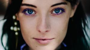 Chloe Norgaard Women Model Young Woman Blue Eyes Face Brunette Dark Hair Danish 1800x2700 Wallpaper