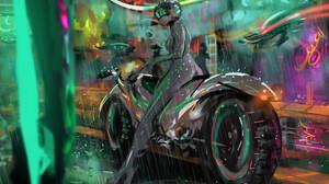 Artistic Motorcycle Rain 1920x1296 Wallpaper