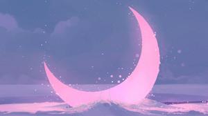 Moon Anime Pink Purple Water Artwork 2560x1440 Wallpaper