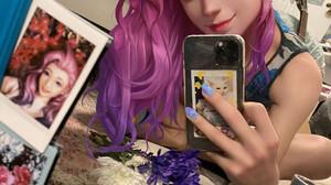 ArtStation Taking Selfie Portrait Display Selfies Women Digital Art KDA Seraphine Self Shot Fan Art  1920x2560 Wallpaper