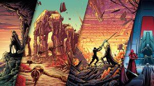 Artwork Digital Art Star Wars AT AT Lightsaber Split View Luke Skywalker Captain Phasma Finn Star Wa 5120x2160 Wallpaper