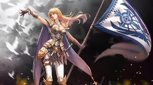 Armor Banner Blonde Joan Of Arc Woman Warrior 3840x2400 Wallpaper