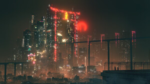 Cyberpunk Cityscape Hologram Night 1920x1080 Wallpaper