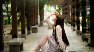 Asian Model Women Long Hair Brunette Sitting Bench Column Depth Of Field 1988x1326 Wallpaper