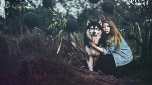 Asian Balloon Brunette Depth Of Field Dog Girl Husky Lipstick Model Woman 2048x1365 Wallpaper