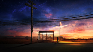 T1na Digital Art Bus Stop Power Lines Backpacks Street Light Road Stars Sunset 2560x1440 Wallpaper