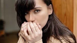 Olga Seryabkina Women Singer Russian Women Long Hair Coats Makeup Dark Hair Looking At Viewer Women  1500x1508 Wallpaper