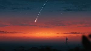 Artwork Digital Art Nature Night Shooting Stars 2445x1174 Wallpaper