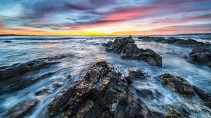 Dawn Horizon Nature Ocean Rock Sky Sunset 3840x2160 Wallpaper