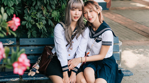 Asian Model Women Women Outdoors Dark Hair Long Hair Sitting Bench School Uniform Sailor Uniform Hai 2560x3840 Wallpaper