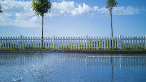 Sky Plants Clouds Fence Trees Water Drops 3952x2960 Wallpaper