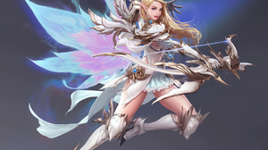 Seunghee Lee Drawing Women Blonde Long Hair Archer Bow Wings Fantasy Art Fighting Simple Background 1828x1781 Wallpaper