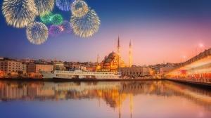 City Fireworks Mosque Reflection 3124x2083 Wallpaper