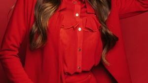 Evgenyi Demenev Women Brunette Long Hair Wavy Hair Makeup Eyeshadow Suits Red Clothing Shirt Painted 1440x2160 Wallpaper