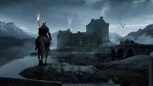 Jack Usephot Knight Horse Dragon Ultrawide Men Mountains Digital Art 3440x1440 Wallpaper