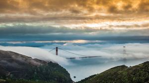 Bridge Fog Golden Gate 5120x2880 wallpaper
