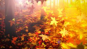 Anime Leaves Fallen Leaves Fall Nature 4748x2951 Wallpaper