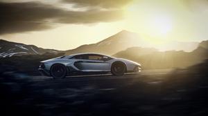 Lamborghini Aventador LP 780 4 Lamborghini Silver Cars Italian Supercars Vehicle Supercars Sunset Ro 3840x2160 Wallpaper
