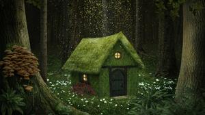 Artistic Fantasy Flower Forest Green House Mushroom 1920x1493 Wallpaper