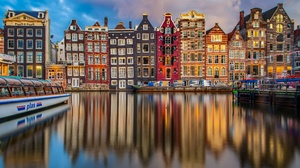 Amsterdam Boat Building Canal House Netherlands Reflection 6144x4096 Wallpaper