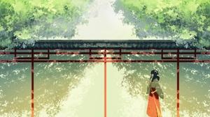 Girl Long Hair Black Hair Broom Tree Japanese Clothes 2698x1013 Wallpaper