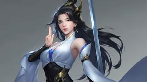 Takashi Tan Drawing Women Asian Dark Hair Dress Hair Accessories Blue Eyes Weapon Sword Simple Backg 1920x1418 Wallpaper