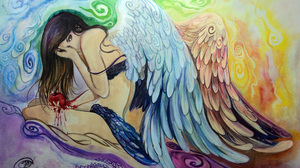 Angel Artistic Artwork Blood Fantasy Girl Sad Wings Woman 3599x2205 Wallpaper