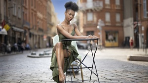 Women Model Sitting Black Hair Women Outdoors Urban Legs Legs Crossed Red Lipstick 2560x1707 Wallpaper