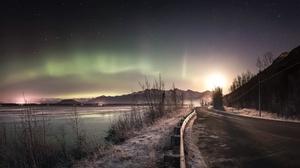 Aurora Borealis Nature Night Road Sky Winter 2048x1240 Wallpaper