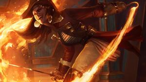 Pirate Woman Warrior Sword Fire Magic 2000x1471 wallpaper