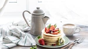 Berry Breakfast Pancake Still Life Strawberry 6720x4480 Wallpaper