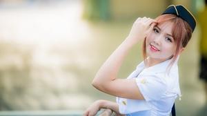 Asian Brunette Depth Of Field Girl Model Stewardess Uniform Woman 4500x3002 wallpaper