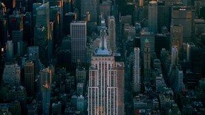 New York City Empire State Building Building Manhattan Central Park City Portrait Display Sunset 1366x2048 Wallpaper