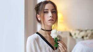 Ksenia Kokoreva Women Choker Maxim Maksimov Rose Maxim Maximov Brunette Eyeliner Black Nails White S 2048x1365 Wallpaper