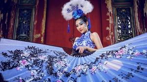 Asian Black Hair Fan Girl Lipstick Makeup Model Woman 2048x1328 Wallpaper