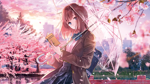 Book Cherry Blossom Girl Short Hair Umbrella 3000x1902 Wallpaper
