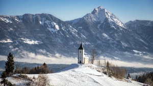 Slovenia Landscape Nature Outdoors Church Building Mountains Winter Snow Cold Snowy Mountain Snowy P 3865x2416 Wallpaper