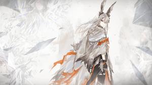 Simple Background Long Hair Gray Hair Bunny Ears Gray Eyes Thigh Highs Arknights Frostnova Arknights 1920x1080 Wallpaper
