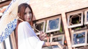 Asian Girl Smile Summer Umbrella 2048x1367 Wallpaper