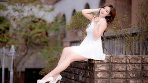 Asian Model Women Long Hair Dark Hair Depth Of Field Women Outdoors Sitting White Dress White Heels  2560x1707 Wallpaper