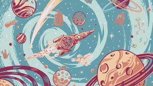 Artwork Space Space Art Planet Spaceship Moon Planetary Rings 1920x1080 Wallpaper