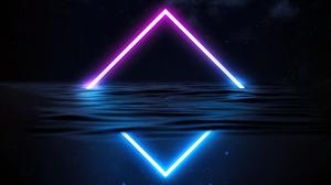 Triangle Water Lights Digital Art Waves Blue Stars 3840x2160 Wallpaper