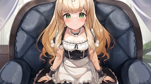 Anime Anime Girls Smiling Green Eyes Blonde Maid Maid Outfit Long Hair Ohshit Artwork 3500x2625 Wallpaper