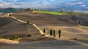 Dirt Road Field Italy Landscape 2048x1152 wallpaper