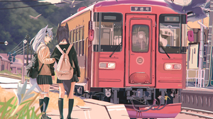 Auguste Arknights Lappland Arknights Texas Arknights Anime Anime Girls Train Skirt School Uniform Wo 7016x4341 Wallpaper