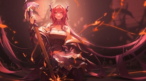 Anime Anime Girls Wushier Artwork Arknights Surtr Arknights Horns Long Hair Dress Sword 3620x2238 Wallpaper