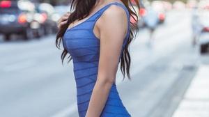 Erin Olash Model Celebrity Dark Hair Zabu Mutua Women Blue Dress Public Touching Hair 1024x1280 wallpaper