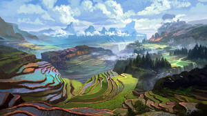 Rice Terraced Field Clouds Trees Digital Art Digital 3840x2160 Wallpaper